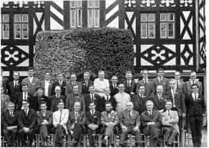 Participants of the 1969 Gregynog Natural Products Symposium. Cedric Hassall is the second person on the left seated. Courtesy of Professor Timothy Bugg.